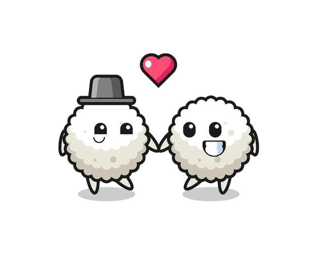 Couple de personnage de dessin animé de boule de riz avec un geste amoureux, design de style mignon pour t-shirt, autocollant, élément de logo