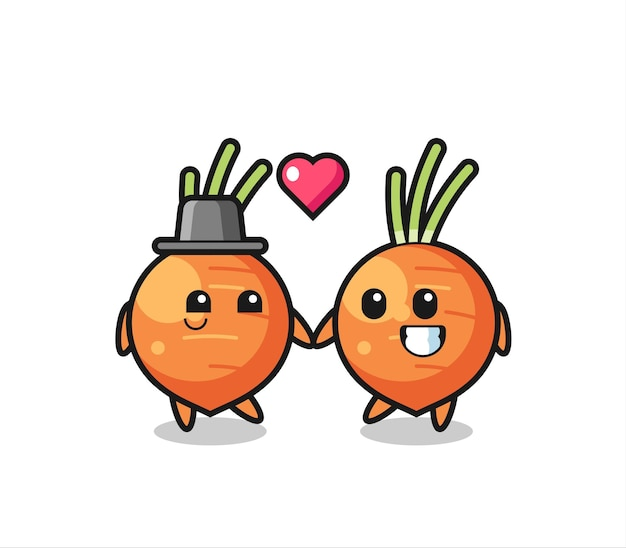 Couple de personnage de dessin animé de carotte avec un geste amoureux, design de style mignon pour t-shirt, autocollant, élément de logo