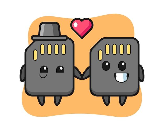 Couple de personnage de dessin animé de carte sd avec le geste de tomber amoureux, conception de style mignon pour t-shirt