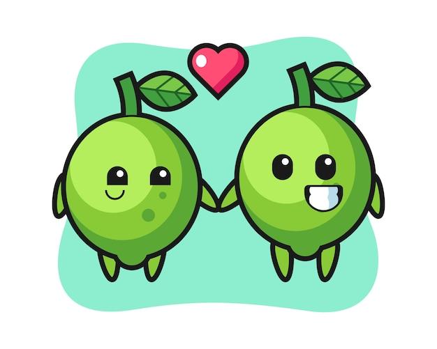 Couple de personnage de dessin animé de chaux avec le geste de tomber amoureux, style mignon, autocollant, élément de logo