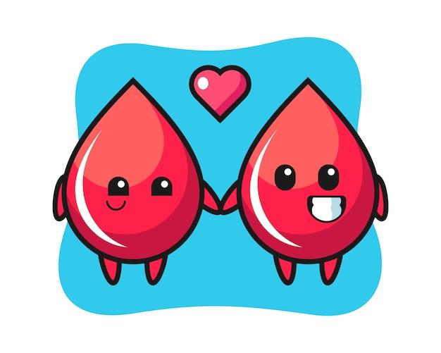 Couple de personnage de dessin animé de goutte de sang avec le geste de tomber amoureux, style mignon, autocollant, élément de logo