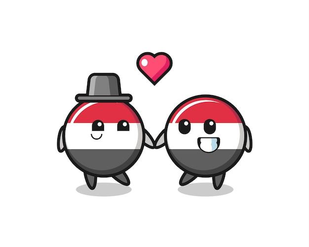 Couple de personnage de dessin animé d'insigne de drapeau du yémen avec un geste amoureux, design de style mignon pour t-shirt, autocollant, élément de logo