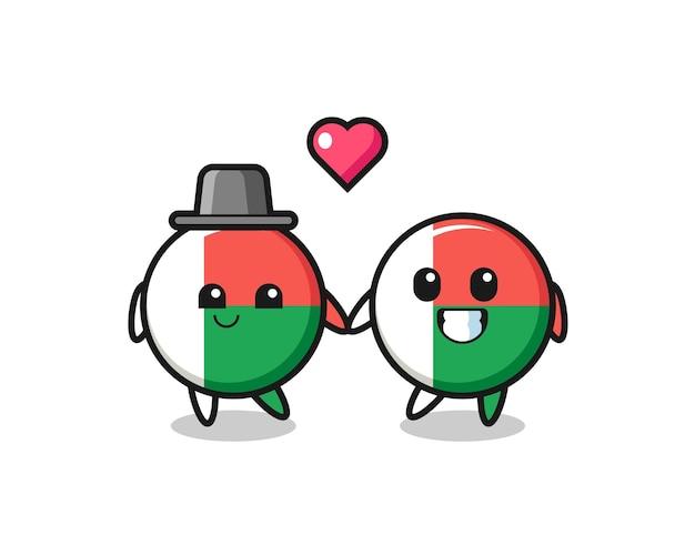 Couple de personnage de dessin animé d'insigne de drapeau de madagascar avec un geste amoureux, design mignon