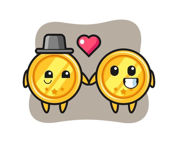 Couple de personnage de dessin animé de médaille avec le geste de tomber amoureux