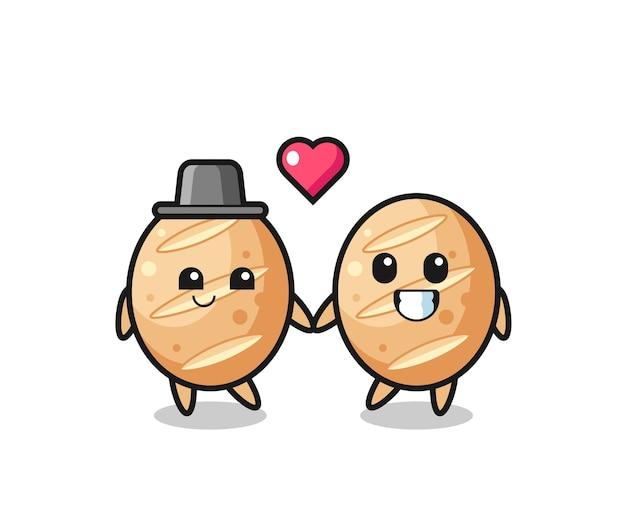 Couple de personnage de dessin animé de pain français avec un geste amoureux, design mignon