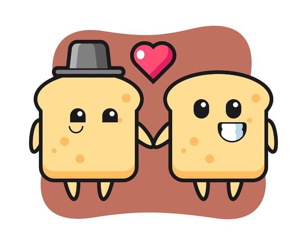 Couple de personnage de dessin animé de pain avec le geste de tomber amoureux