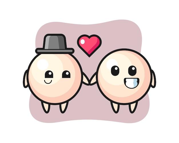 Couple de personnage de dessin animé de perle avec le geste de tomber amoureux