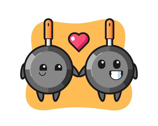 Couple de personnage de dessin animé de poêle à frire avec le geste de tomber amoureux