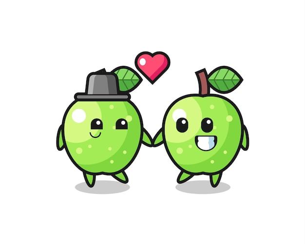 Couple de personnage de dessin animé de pomme verte avec un geste amoureux, design de style mignon pour t-shirt, autocollant, élément de logo