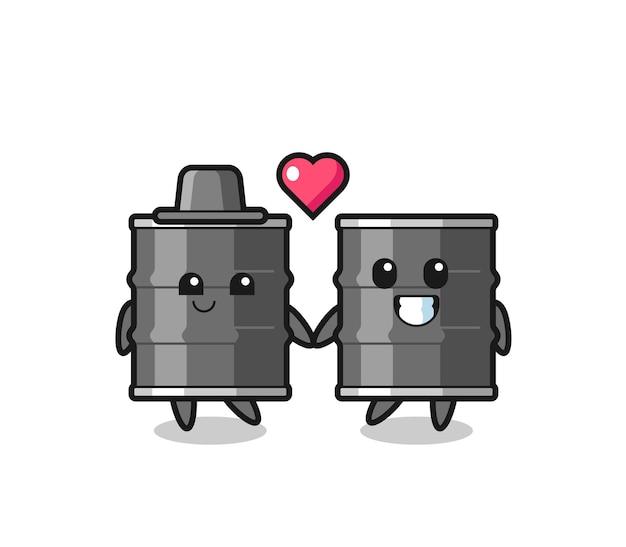 Couple de personnage de dessin animé de tambour à huile avec un geste amoureux, design mignon