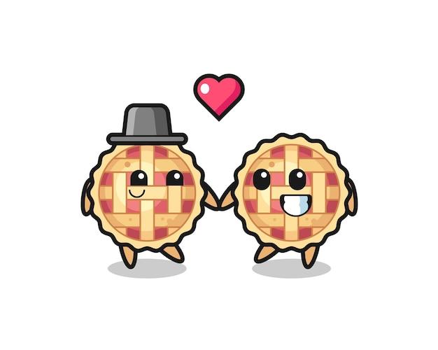 Couple de personnage de dessin animé de tarte aux pommes avec un geste amoureux, design de style mignon pour t-shirt, autocollant, élément de logo