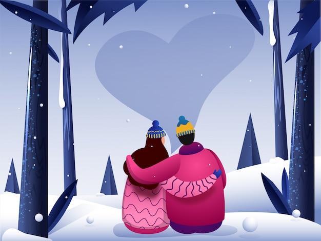 Un couple de personnage sur la neige avec coeur dans le ciel nocturne