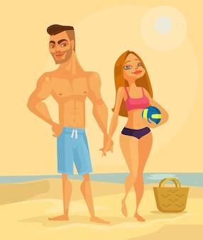Couple de personnages amoureux sur la plage.