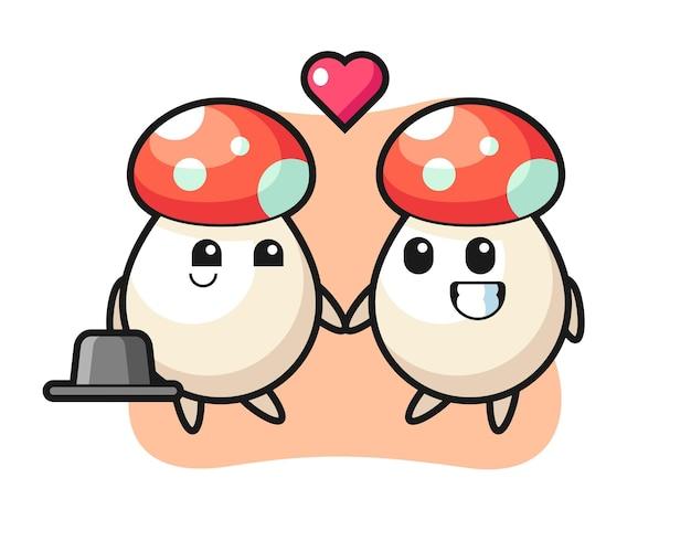 Couple de personnages de dessins animés aux champignons avec un geste amoureux, design de style mignon pour t-shirt, autocollant, élément de logo