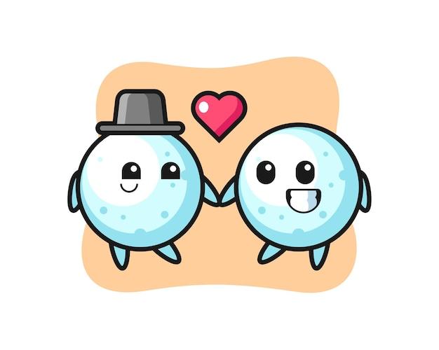 Couple de personnages de dessins animés de boule de neige avec un geste amoureux, design de style mignon pour t-shirt, autocollant, élément de logo
