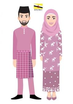 Couple de personnages de dessins animés en costume traditionnel du brunei