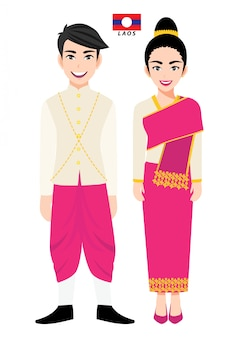 Couple de personnages de dessins animés en costume traditionnel du laos