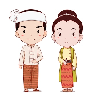 Couple de personnages de dessins animés en costume traditionnel du myanmar.