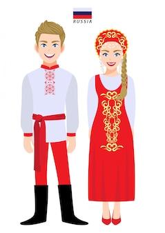 Couple de personnages de dessins animés en costume traditionnel de la russie