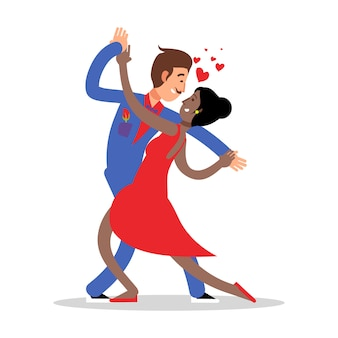 Couple de personnages de dessins animés danse illustration