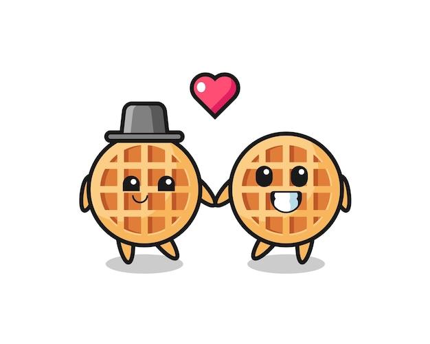 Couple de personnages de dessins animés de gaufres de cercle avec un geste amoureux, design mignon