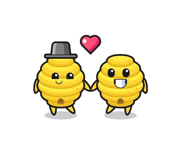 Couple de personnages de dessins animés de ruche d'abeilles avec un geste amoureux, design mignon