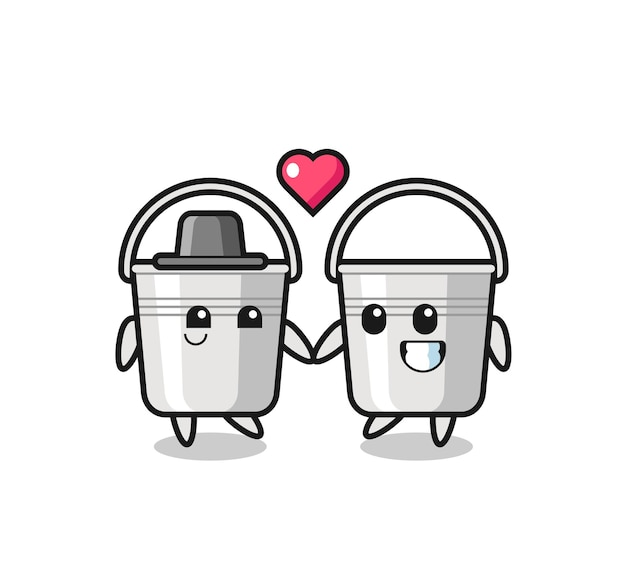 Couple de personnages de dessins animés de seau en métal avec un geste amoureux, design de style mignon pour t-shirt, autocollant, élément de logo
