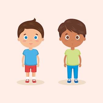 Couple de personnages de petits garçons
