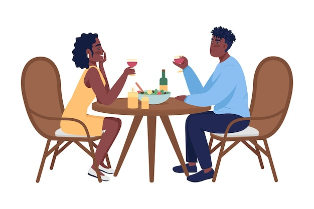 Couple sur des personnages vectoriels de couleur semi-plat de dîner romantique. personnages assis. personnes de tout le corps sur blanc. partie à la maison isolée illustration de style dessin animé moderne pour la conception graphique et l'animation