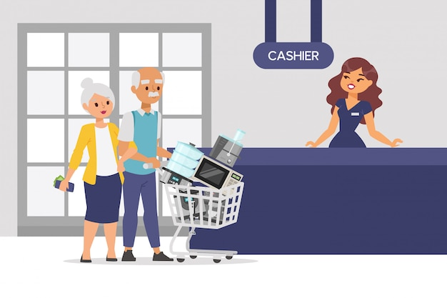 Couple de personnes âgées achètent un petit appareil en magasin, personnage d'illustration masculine et féminine. les gens portent des appareils de cuisine.