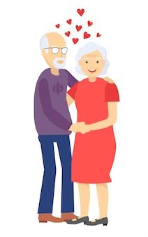 Couple de personnes âgées en amour. les personnes âgées se lèvent et s'embrassent ensemble. illustration.