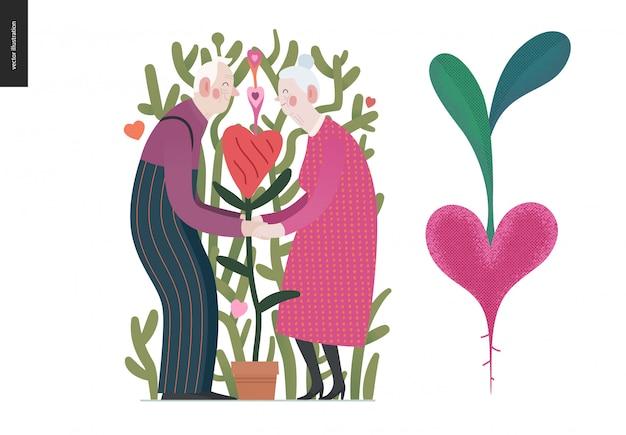 Couple de personnes âgées amoureux
