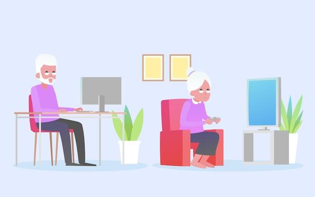 Couple de personnes âgées et appareils technologiques