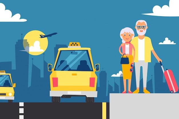 Couple de personnes âgées en attente de taxi, illustration. grands-parents en vacances, personnages de dessins animés.