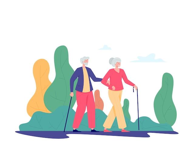 Couple de personnes âgées avec une canne à pied en plein air. vieil homme et femme marchant dans un parc. concept d'activités de loisirs et de loisirs pour retraités. illustration de personnes âgées, style plat.