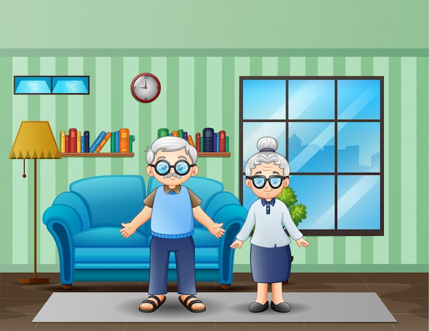Couple de personnes âgées dans le salon