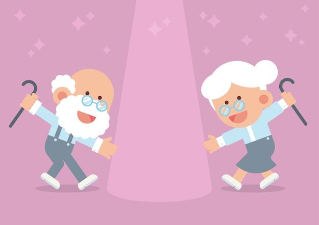 Couple de personnes âgées dansant avec des cannes de marche dans un style de dessin animé plat mignon