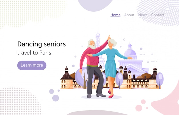 Couple de personnes âgées dansant dans la rue de la ville