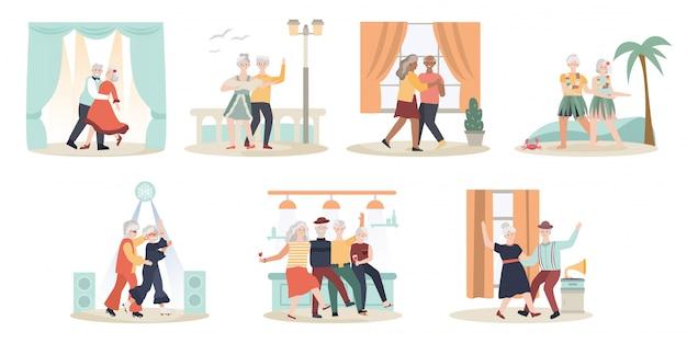 Couple de personnes âgées dansant, illustration de personnages de dessins animés