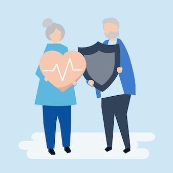 Couple de personnes âgées détenant des icônes d'assurance maladie