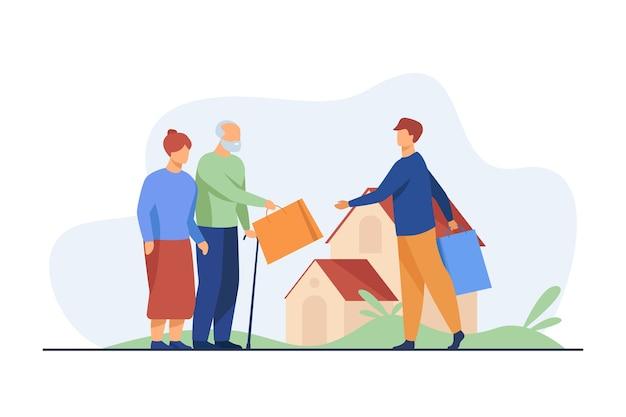Couple de personnes âgées échangeant des paquets avec jeune homme. illustration plate de maison, grand-père, grand-mère.