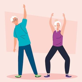 Couple de personnes âgées effectuant des étirements, caractère avatar.