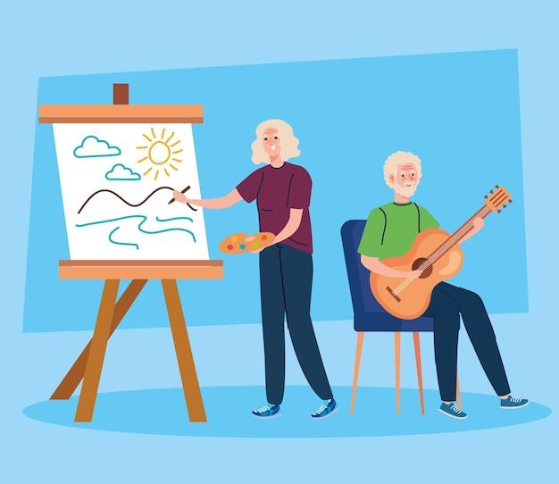 Couple de personnes âgées faisant différentes activités et passe-temps.