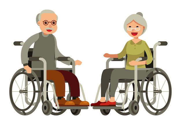 Couple de personnes âgées en fauteuil roulant sur un style plat de fond blanc