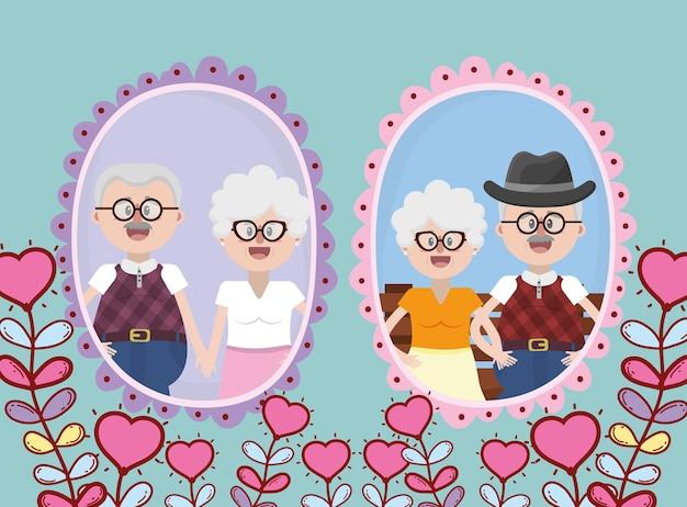 Couple de personnes âgées grands-parents