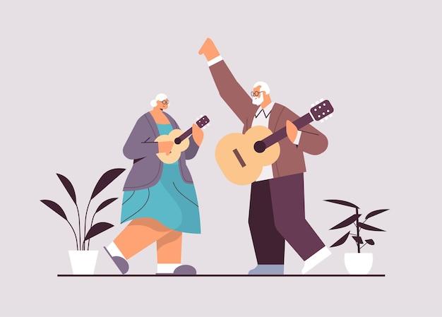 Couple de personnes âgées jouant de la guitare grands-parents s'amusant concept de vieillesse active illustration vectorielle pleine longueur horizontale