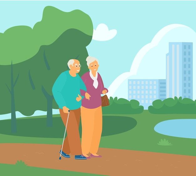 Couple de personnes âgées marchant bras dessus bras dessous dans le parc. retraite active. mode de vie sain.