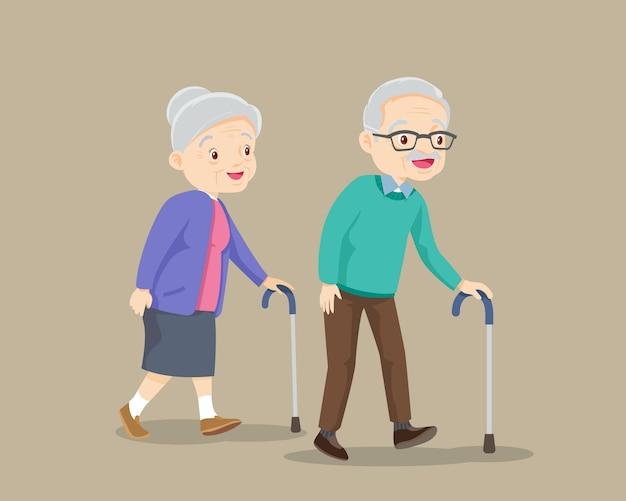 Couple de personnes âgées marchant par illustration de canne
