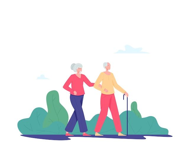Couple de personnes âgées marchant en plein air. vieil homme et femme marchant dans un parc. concept d'activités de loisirs et de loisirs pour retraités. illustration de personnes âgées, style plat.