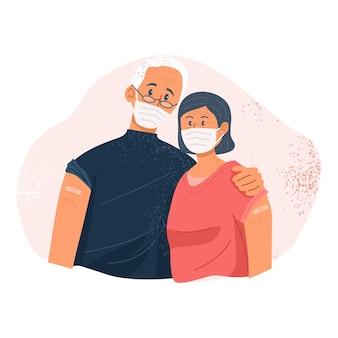 Couple de personnes âgées montrant leurs bras après avoir été vacciné contre le covid19